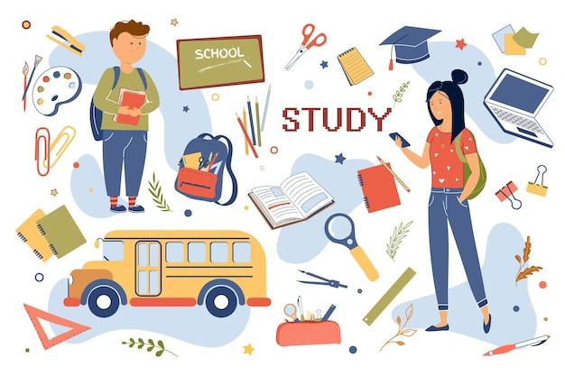 Ensemble d'éléments isolés de concept d'étude