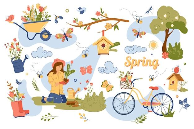 Ensemble d'éléments isolés de concept de printemps