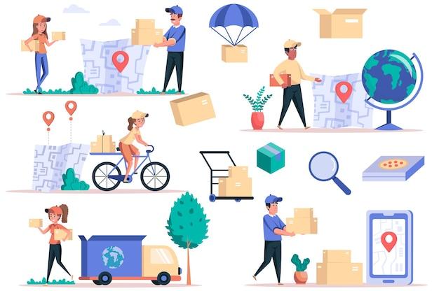 Ensemble d'éléments isolés du service de livraison paquet de courriers livrant des colis logistiques mondiales