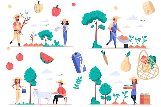 Ensemble d'éléments isolés pour l'agriculture et le jardinage ensemble de personnes plantant des arbres et des semis