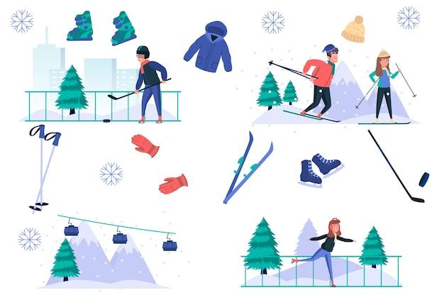Ensemble d'éléments isolés de sports d'hiver ensemble d'hommes et de femmes faisant du ski patinage jouant au hockey