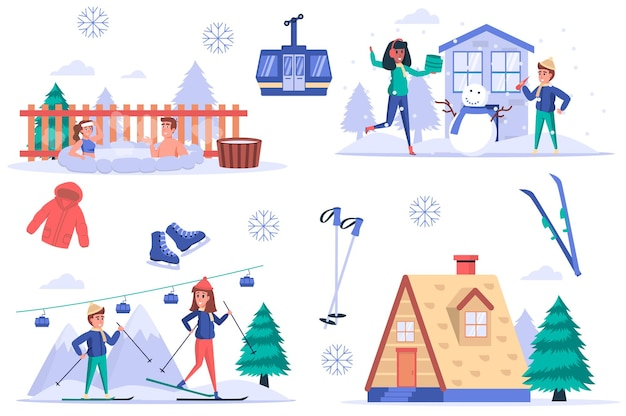 Ensemble d'éléments isolés de la station de ski ensemble de personnes se reposant dans les montagnes en hiver nager dans une baignoire chaude