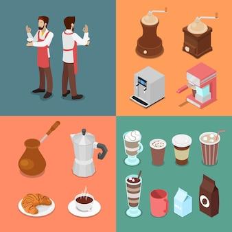 Ensemble d'éléments isométrique barman et café