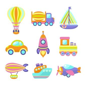 Ensemble d'éléments de jouets de transport