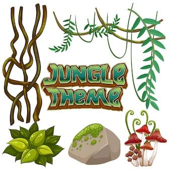 Ensemble d'éléments de la jungle