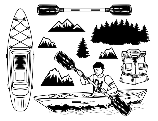 Ensemble d'éléments de kayak