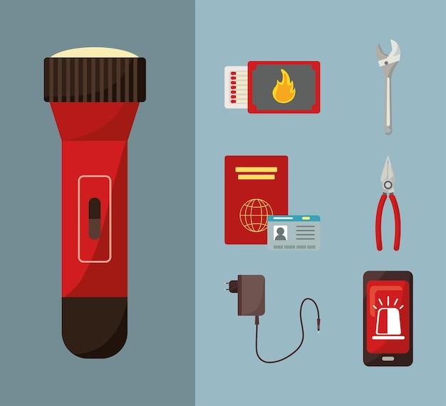 Ensemble d'éléments de kit d'urgence