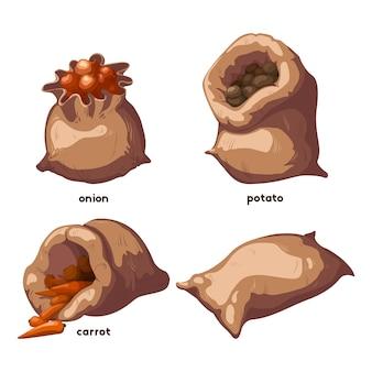 Ensemble d'éléments de légumes dans des sacs