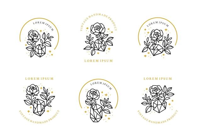 Ensemble d'éléments de logo cristal et bijou branche fleur rose botanique vintage dessinés à la main