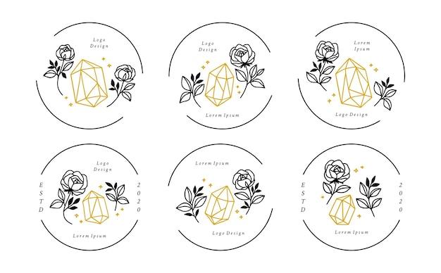 Ensemble d'éléments de logo feuille de cristal minimaliste dessinés à la main et fleur rose