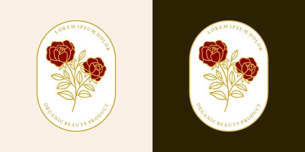 Ensemble d'éléments logo fleur rose botanique dessinés à la main et branche feuille
