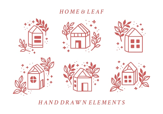 Ensemble d'éléments de logo floral maison et rose dessinés à la main