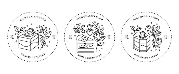 Ensemble d'éléments de logo gâteau, pâtisserie et boulangerie dessinés à la main isolé sur fond blanc