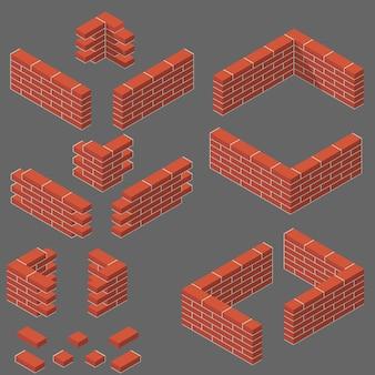 Ensemble d'éléments de maçonnerie isométrique