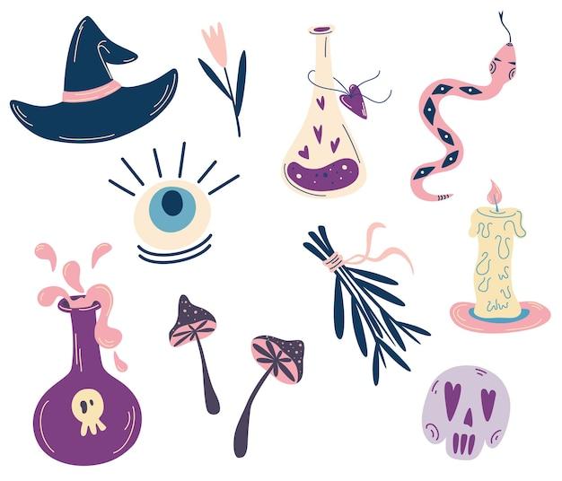 Ensemble d'éléments magiques de sorcière symboles de sorcellerie potion crâne yeux de cristal serpent