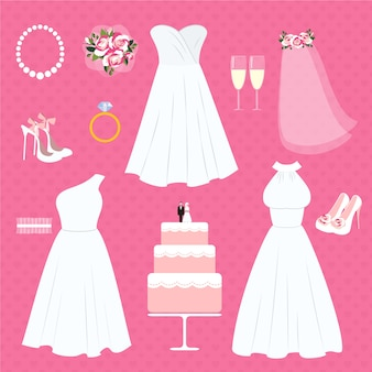 Ensemble d'éléments de mariage et accessoires de mariée