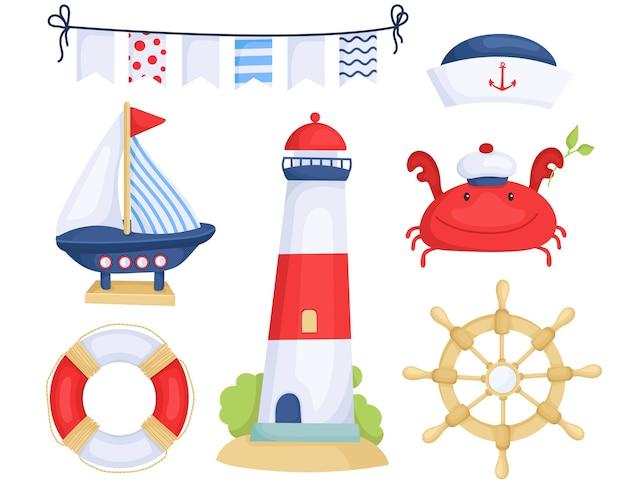 Ensemble d'éléments marins nautiques mignons.