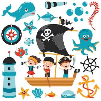 Ensemble d'éléments de mer de dessin animé