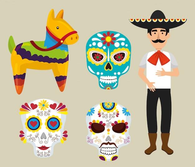 Ensemble d'éléments mexicains