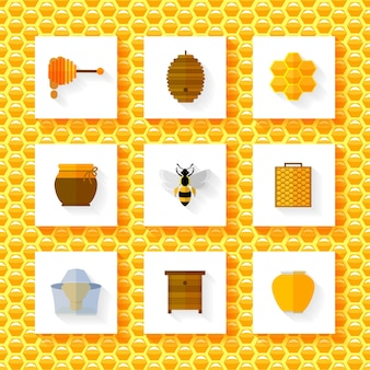 Ensemble d'éléments de miel.