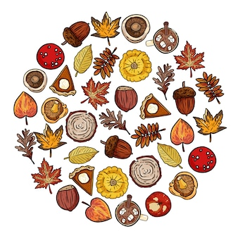 Ensemble d'éléments mignons d'automne griffonnages dans une composition ronde