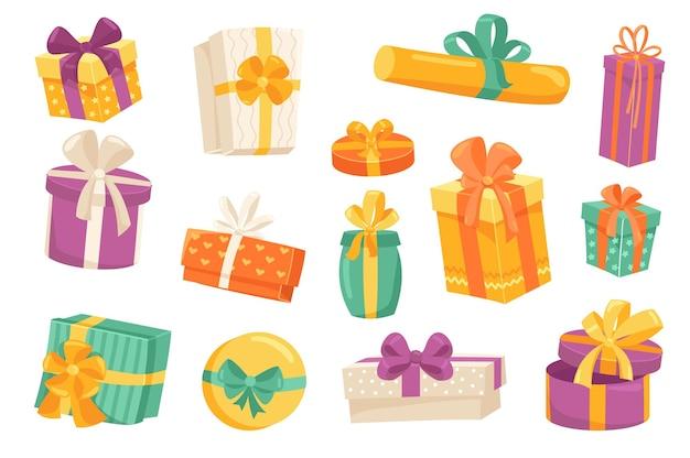 Ensemble d'éléments mignons de coffrets cadeaux