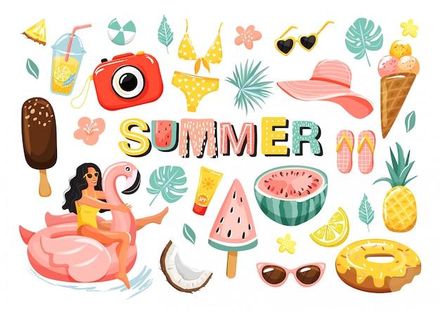 Ensemble d'éléments mignons de l'été