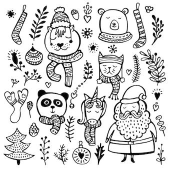 Ensemble d'éléments mignons de noël, du nouvel an et de l'hiver dessinés à la main, isolés sur fond blanc