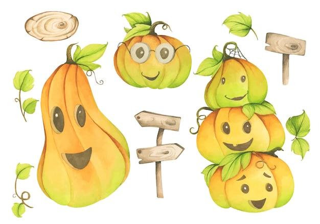 Ensemble d'éléments mignons de vacances d'halloween. citrouille, feuilles et panneau en bois. illustration à l'aquarelle.