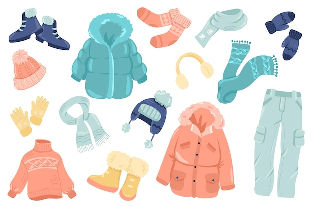 Ensemble d'éléments mignons de vêtements d'hiver