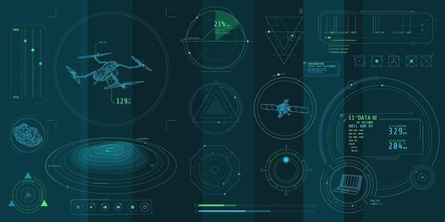 Un ensemble d'éléments minces sur le thème de drone control.