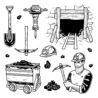 Ensemble d'éléments miniers