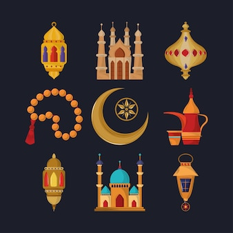 Ensemble d'éléments musulmans