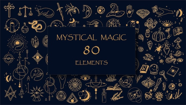 Ensemble d'éléments mystiques en or magique