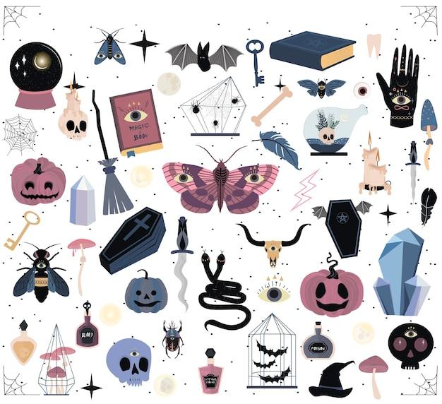 Ensemble d'éléments mystiques pour la fête d'halloween.