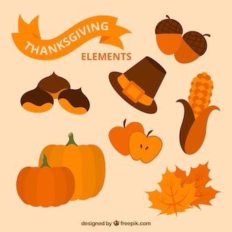 Ensemble d'éléments naturels thanksgiving