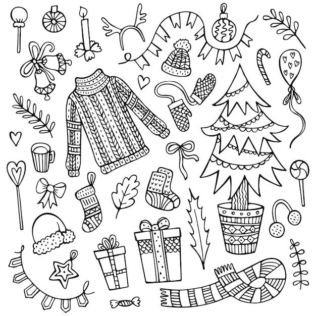 Ensemble d'éléments de noël dessinés à la main isolés