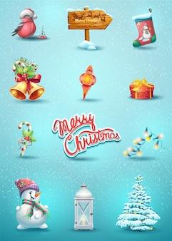 Ensemble d'éléments de noël avec le jouet, rowan, schlumberger, bonhomme de neige, arbre de noël, pointeur, bonbons, une lampe de poche, une guirlande