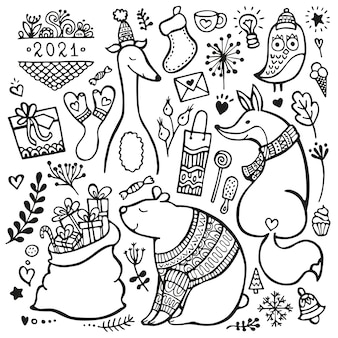 Ensemble d'éléments de noël, nouvel an et hiver dessinés à la main, isolés sur fond blanc. ours, renard, chien et hibou vêtus de vêtements d'hiver. collection de doodle.