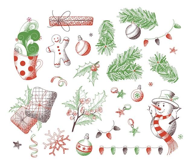 Ensemble d'éléments de noël. texture de bruit dessiné à la main. croquis de bonhomme de neige, bonhomme en pain d'épice, gui, cadeaux. bonne année ensemble.