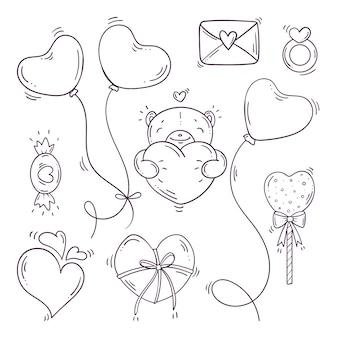 Ensemble d'éléments en noir et blanc pour st. saint valentin dans un style doodle.