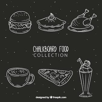 Ensemble d'éléments de nourriture ardoise dessinés à la main