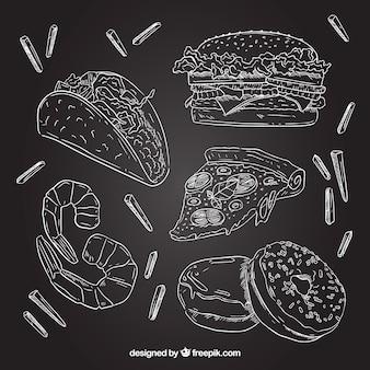 Ensemble d'éléments de nourriture chalkboard