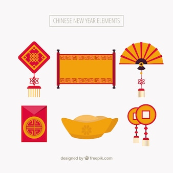 Ensemble d'éléments de nouvel an chinois