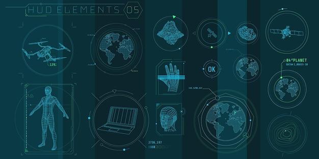 Un ensemble d'éléments de numérisation 3d hud pour une interface futuriste.