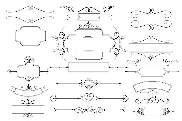 Ensemble d'éléments ornementaux calligraphiques