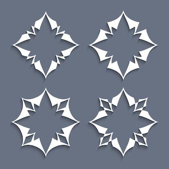 Ensemble d'éléments en papier fleurs stylisées pour
