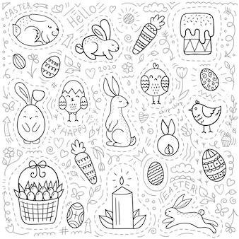 Ensemble d'éléments de pâques doodle.