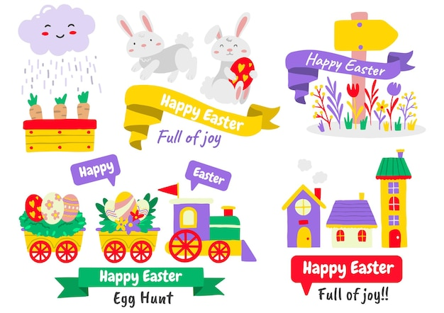 Ensemble d'éléments de pâques avec des œufs et des animaux peints. joyeuses fêtes de pâques