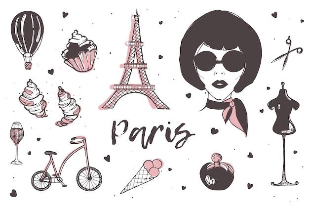 Ensemble D'éléments De Paris Et De La France Vecteur Premium